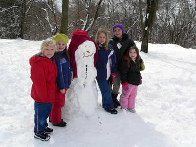 Chandler, Malia, Tori, Naomi, and Abbie show off their creation in March 2005.