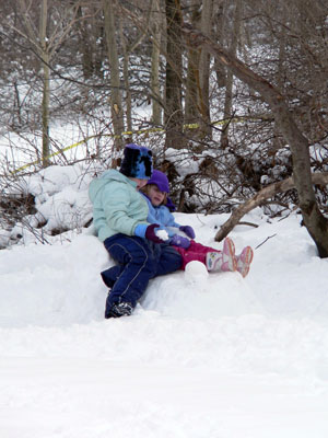 Dakota and Livi share snow snuggles. 2005 was a really good year for snow pictures.
