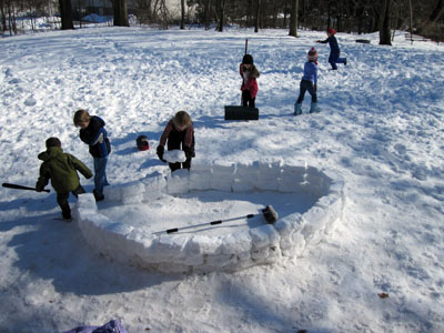 The building of one of the coolest snow structures I (Julia) have seen at school. That's Gage, John, and Sebastian in the foreground.