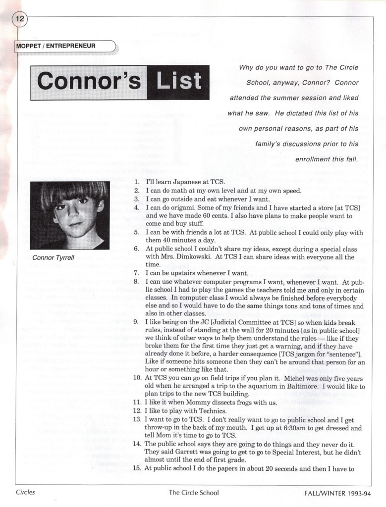 Connor's List pg 1