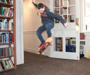 Skateboarding in the Library