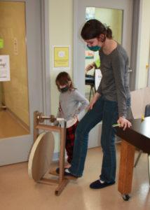 Marina's cardboard spinning wheel